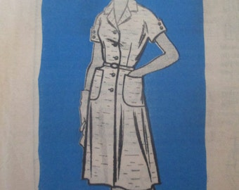 Anne Adams Mail Order 4989 Womens 60s Shirt Waist Dress Sewing Pattern Bust 35 Half Size 14 1/2