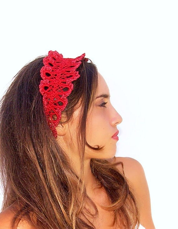 Crochet red headband, Hair accessory, Bridal headband accessory, wedding, red lace headband
