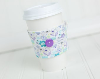 Reusable Fabric Coffee Sleeve, Purple and Green Floral Print for Girls
