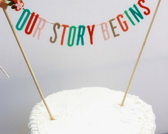 Wedding Cake Banner - Wedding Cake Topper - Our Story Begins Cake Banner - Wedding Cake Topper: Peach and Teal