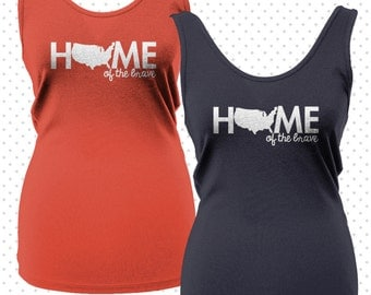 Women's Home of the Brave Tanktop {MADE TO ORDER)