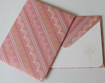 Set of 2 Stationery - Stripe Line Designs with Pastel Sweet Pink- Trees