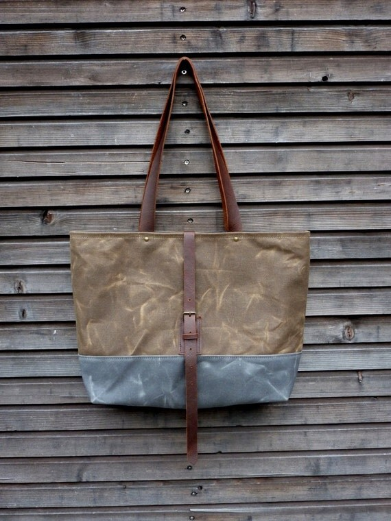 Waxed canvas bag / tote bag with  leather handles and double waxed canvas bottom COLLECTION UNISEX