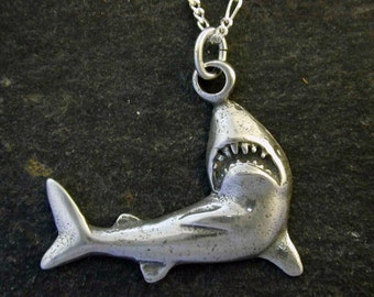 Sterling Silver Shark Pendant on Sterling Silver Chain.