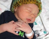 Crochet Boys Hat - Baby Hat - Newborn Hat - Chunky Multi Colored - Brown - Green - Blue - Mustard Yellow - in size Newborn to 3 Months