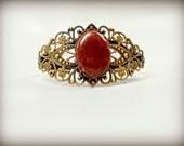Gold Filigree Cuff Bracelet with Pink Lepidolite Cabochon - Gypsum Moon Rocks Collaboration