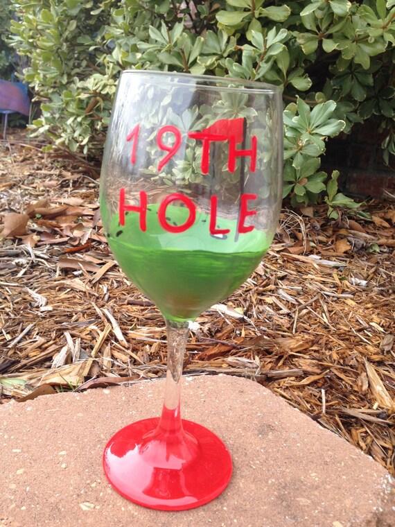 19th hole golf wine glass golf lover wine glass
