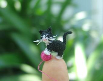 0.5 inch micro crochet tuxedo kitten cat - dollhouse decor - micro amirugumi cat