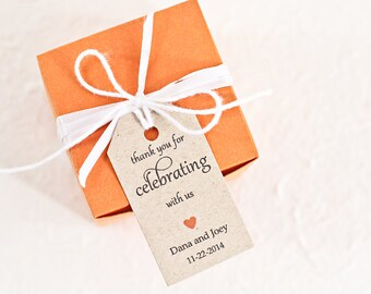 Wedding Favor Tag, Personalized Thank You Tag, Bridal Shower Tag, Gift Tag, Thank You for Celebrating With Us Tag - Set of 25 (SMGT-GAB)