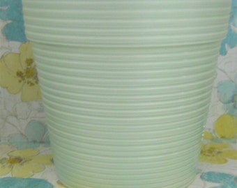Pale Mint Blue Ribbed Pottery Planter