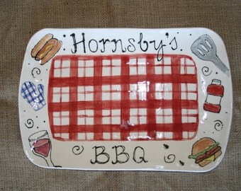 Personalized rectangular BBQ serving platter