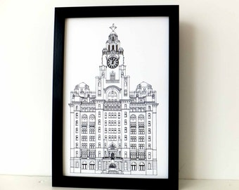 Liverpool Print, Liver Building, Liverpool, Monochrome art print, black and white home decor, Picture of Liverpool, England