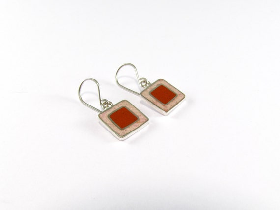 Sterling Silver Earrings, Red and Pink Squares, Soft Colors, Dangle, Modern, Contemporary