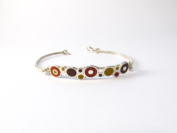Sterling Silver Bracelet - Chocolate Maroon Mustard  - Colorful Bubbles
