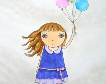 Kid's Room Art, Girl with Balloons and Dog
