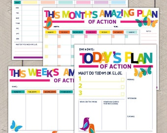 Printable Planning Pack Day Week Month Organisers Rainbow Bird Butterfly Print