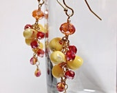 Tangerine Crystal and Shell Cluster Earrings in 14ky gold filled