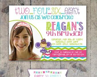 CHEERLEADER 5x7 Photo Birthday Party Invitation - Girl Printable