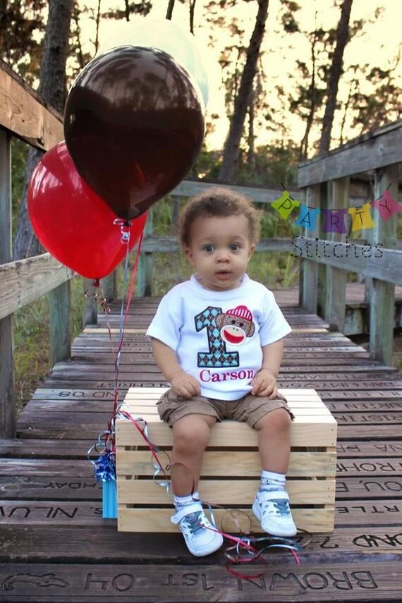 Sock Monkey Birthday Shirt - PERSONALIZED