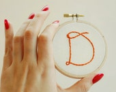 Hand Embroidered Monogram. Hand Stitched Initial. Colorful Letter Art. Embroidery Hoop Art. Custom Monogram. Hand Stitched Letter.