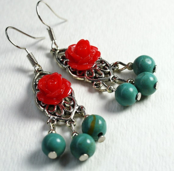 Green Turquoise Earrings Red Rose Western Style By Exgalabur