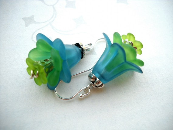 Blue and green layered lucite flower earrings: Returned to Scales - gift under 20, mermaid earrings, flower earrings, peacock blue earrings