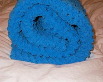 Crocheted Baby Blanket,Crocheted Afghan, Baby Boy Blanket, Bernat Blanket, Photo Prop Blanket Plush Blanket Blue Blanket Baby Boy Blanket