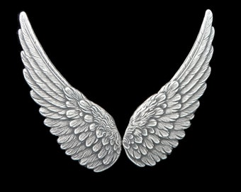 Silver Plated Brass Medium Bird Wings in Stamping 66 mm x 22 mm Qty 1 Pair One Made in the USA
