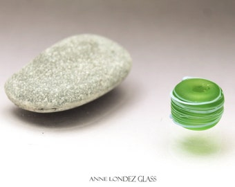 Green glass bead blue thread, lampwork glass bead matte frosted Cocoon MADE to ORDER Anne Londez  SRA