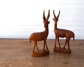 Wood Antelope Pair / Midcentury Decor / Handcarved African Statue / Gazelle Deer Figurine