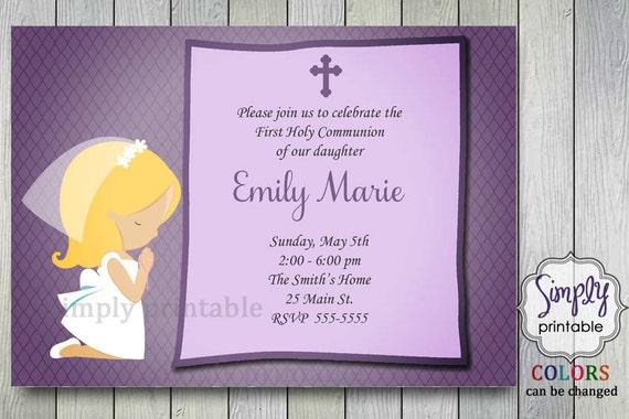 Purple First Communion Invitation