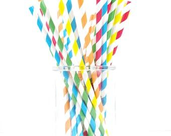 Caterpillar Paper Straws - 25 Straws - Red, Yellow, Blue, Green & Orange Birthday Party - First Birthday - Paw Patrol