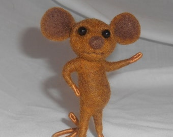 Needle Felted Medium Brown Mouse - FREE SHIPPING to US and Canada