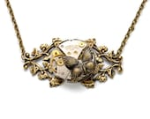 Steampunk Necklace BUTTERFLY Necklace Steampunk Vintage Watch Necklace Ant. Brass Women Victorian Steampunk Jewelry By Victorian Curiosities
