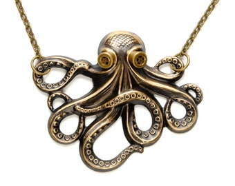 Steampunk Necklace Steam Punk Necklace Steam Punk Octopus Necklace Kraken Cthulhu Steampunk Goggles Steampunk Jewelry Victorian Curiosities