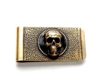 Skull Money Clip MENS Gift for Him Money Clip Pirate Medieval Made in USA Solid American Brass Steampunk Jewelry By Victorian Curiosities