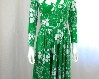 1970s Green and White Dress by Robert David Morton
