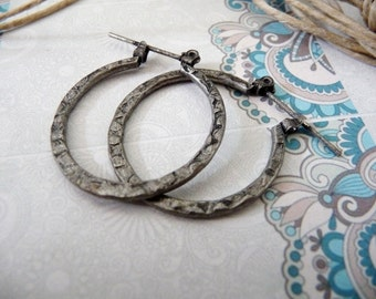 Hoop earrings, hoops, patinated, oxidized, darkened, boho, mid size, clearance, outlet