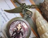 Sephiroth Vincent Valentine Final Fantasy 7 VII necklace pendant dome glass bronze antique pocket watch  keychain key chain
