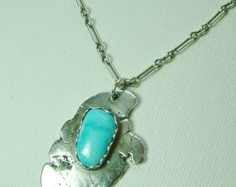 Spilled Paint Sterling Silver with Blue Turquoise Pendant 2