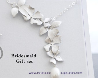 Bridesmaid Gift Set,  3 Elongated Wild Orchid Necklaces, White Freshwater Pearl, Sterling Silver Chain, Wedding Jewelry
