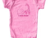 Little Sister Shirt - Little Sister Baby Bodysuit - Baby Shirt - Green Pink - 3-6 month, 6-12 month, 12-18 month, and 18-24 month - Gift