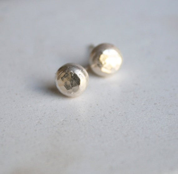 round earrings sterling blob earrings hammered pebble studs