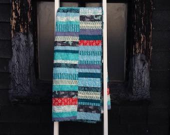 Baby quilt: Currituck No. 2 quilt | blue modern improv strip modern quilt