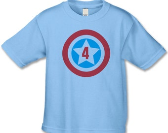 4th Birthday Shirt  -  American Superhero Birthday - 1st, 2nd, 3rd, 5th Birthday Shirts (any number works for us) - Personalized T-Shirts