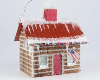 Christmas Village Paper House Ornament - Log Cabin