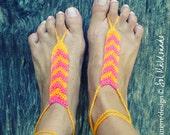 Crochet Pattern Barefoot Sandles Tribe PDF  - geometric trend accessory - Instant DOWNLOAD