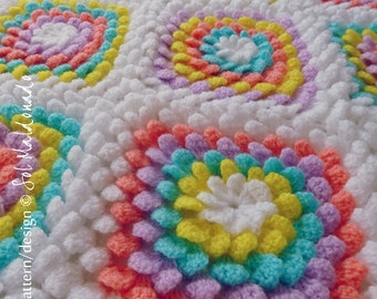 Baby Blanket Floral crochet pattern - Yummy Flower granny square - photo tutorial girl floral blanket - Instant DOWNLOAD