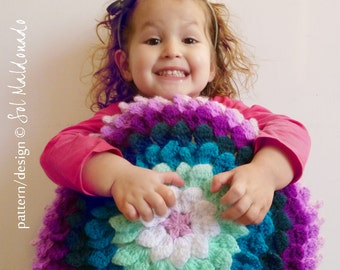 Crochet Pillow Pattern Flower PDF - Round Cushion Photo tutorial - Instant DOWNLOAD