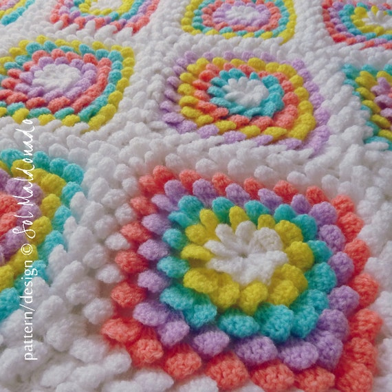 Blanket crochet pattern Yummy Flower granny square by bySol